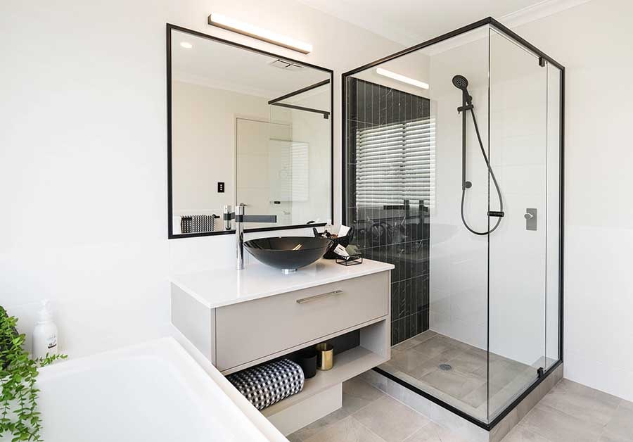 Black Framed shower screens